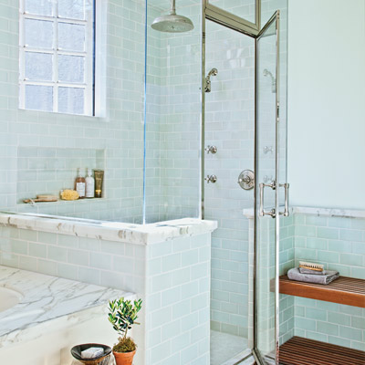 glass-enclosed shower with drying-off area with Japanese-style ipe-wood bench