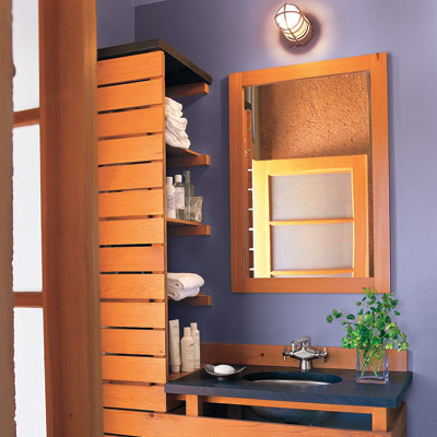wooden bathroom vanity with mirror, shelve and lavender painted walls