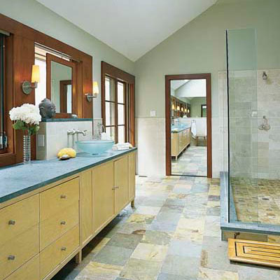 wooden bathroom vanity, mirror and door frame