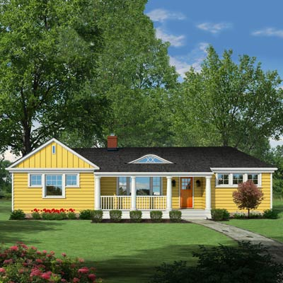 Photoshop rendering of a ranch exterior remodel