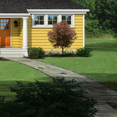 Photoshop rendering of a ranch exterior remodel focusing on the flagstone pathway