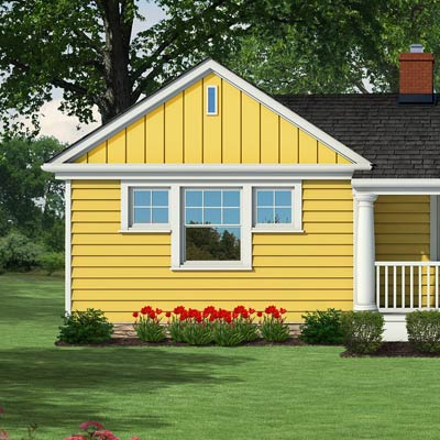 Photoshop rendering of a ranch exterior remodel focusing on the gable on the left-hand side