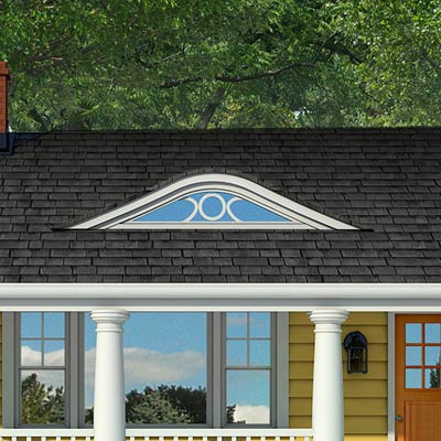 Photoshop rendering of a ranch exterior remodel focusing on the eyebrow dormer window