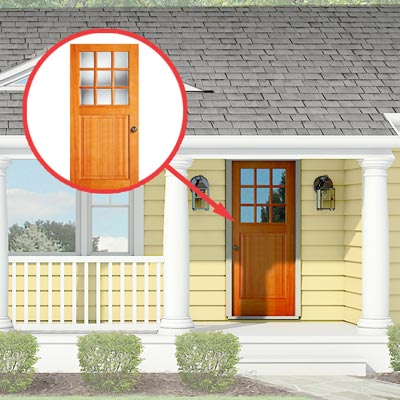 Photoshop rendering of a ranch exterior remodel with inset of front door