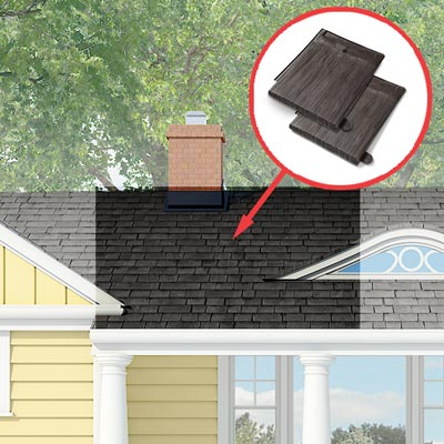 Photoshop rendering of a ranch exterior remodel with inset of roofing tiles