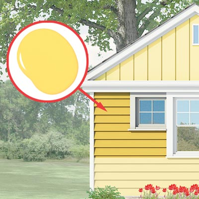 Photoshop rendering of a ranch exterior remodel with inset of paint daub