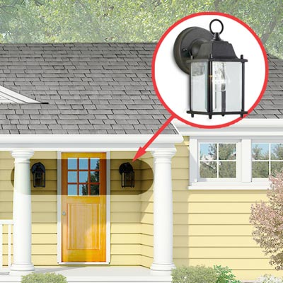 Photoshop rendering of a ranch exterior remodel with inset of sconces