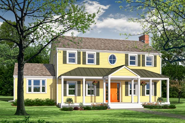 Photoshop remodel of a two-story, Neo-Colonial house