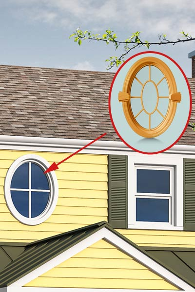 Photoshop remodel of a two-story, Neo-Colonial house with inset of oval window