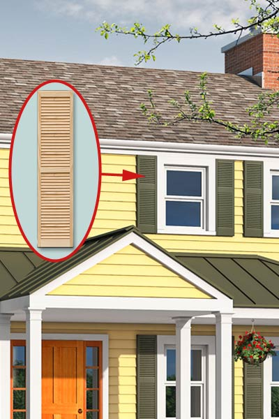 Photoshop remodel of a two-story, Neo-Colonial house with inset of a shutter
