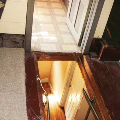 attic stairway opening directly outside an attic bedroom door from home inspection nightmares gallery twenty-seven