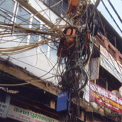 a mess of phone and cable wires from home inspection nightmares gallery twenty-seven