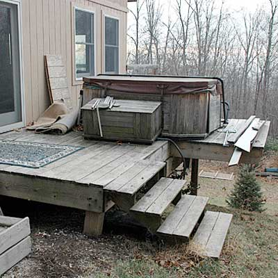 hot tub installed on a very unstable deck from home inspection nightmares gallery twenty-seven