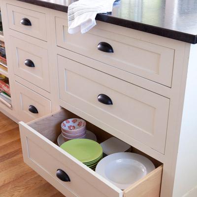 kitchen drawer storage in island