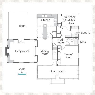 first floor plan of renovated bungalow