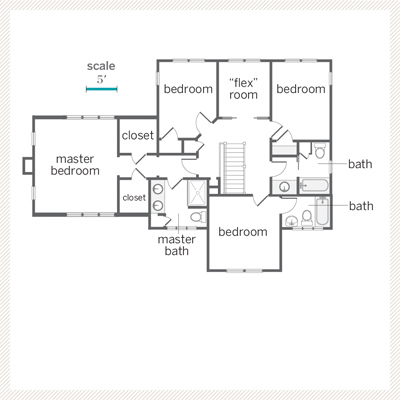 second floor plan of renovated bungalow