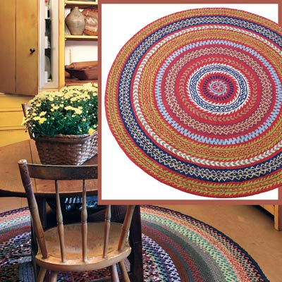 a Shaker-style kitchen with inset detail of a colorful hooked rug