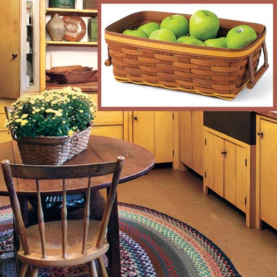 a Shaker-style kitchen with inset detail of a woven basket