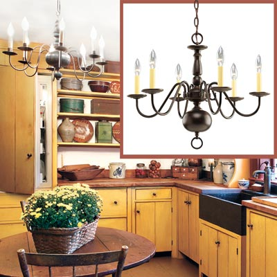 a Shaker-style kitchen with inset detail of a chandelier