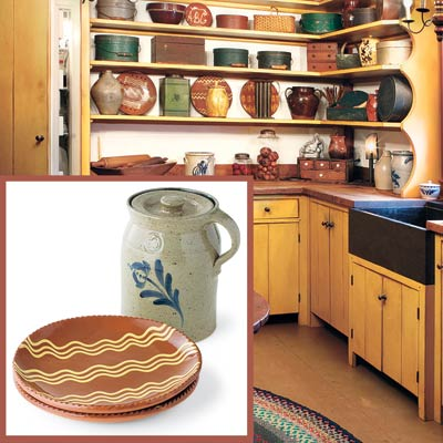 a Shaker-style kitchen with inset detail of rustic pottery