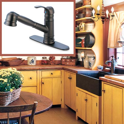 a Shaker-style kitchen with inset detail of a lever faucet