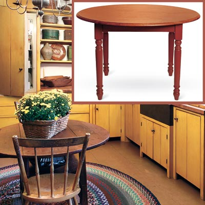 a Shaker-style kitchen with inset detail of a round dining table