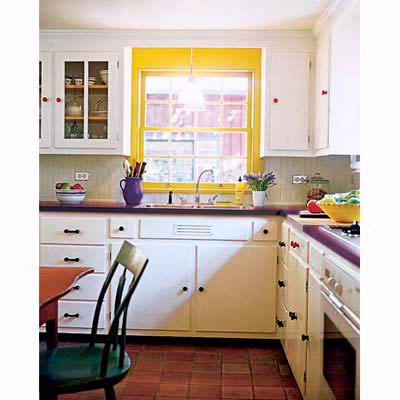 kitchen with yellow window and violet countertops