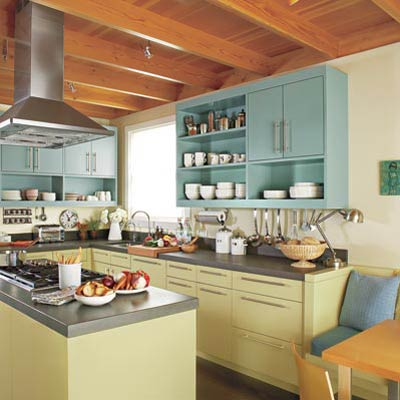 remodeled vintage kitchen with green cabinets