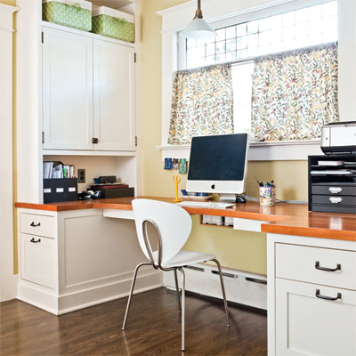 kitchen desk and office in this craftsman kitchen remodel