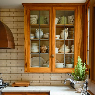 kitchen with original gumwood cabinet fronts 