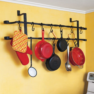 pot rack made of black vintage window guard