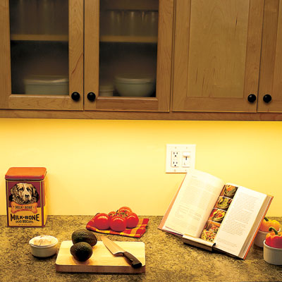 kitchen counter with undercabinet lighting