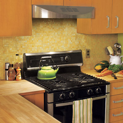 kitchen with glass mosaic tile backsplash
