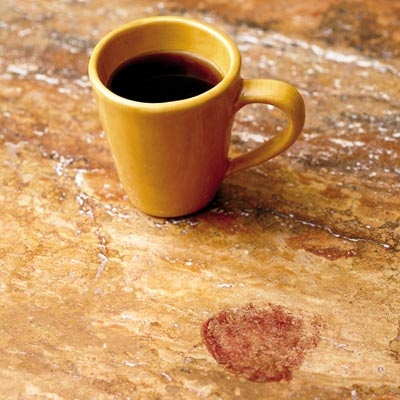 kitchen countertop with coffee mug and stain
