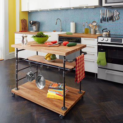 rolling kitchen island made of pipe and butcher block, kitchen upgrades