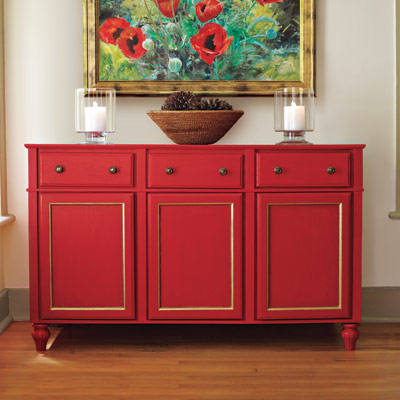 red sideboard made from stock cabinets