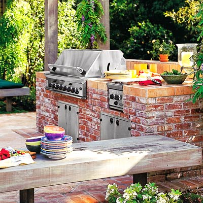 mortared brick masonry grill