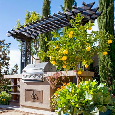 an outdoor kitchen island with a pergola