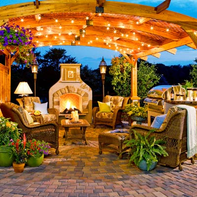 an extremely well-lit outdoor kitchen