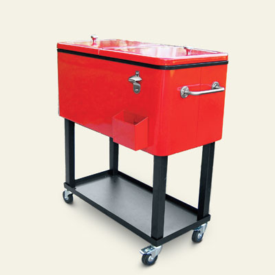 a rolling cooler for an outdoor kitchen area
