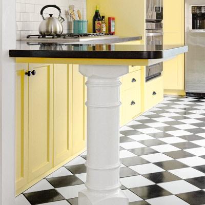 after kitchen redo turned-wood pedestal