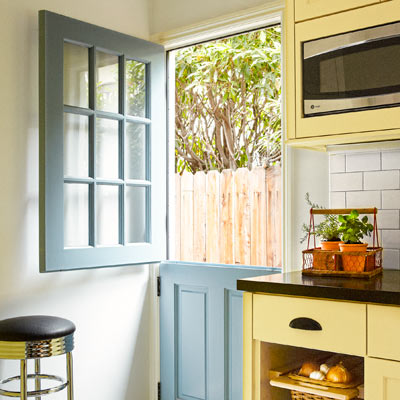 after kitchen redo Dutch door, microwave niche, pull-out baskets
