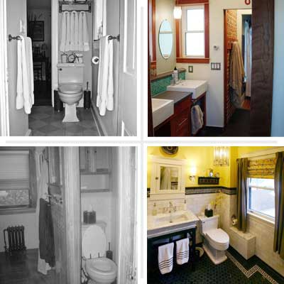 composite of bathroom before and afters