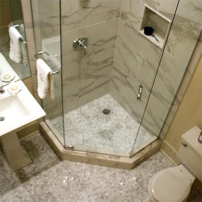 Smart and elegant small space after best bath before for Tiny bathroom layout