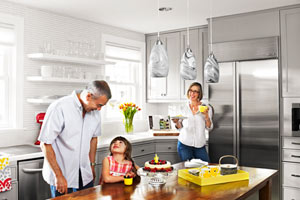 family in renovated kitchen