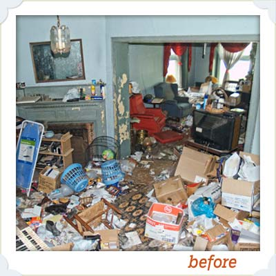 trash filled interior of this old house reader remodel grand prize winning house