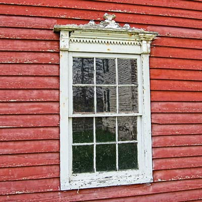 save this old house newport, new york, red clapboard barn window detail