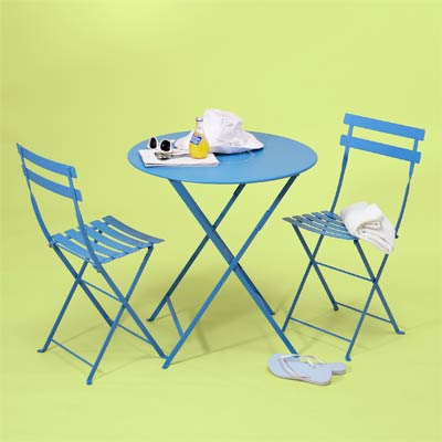 blue bistro set made of steel