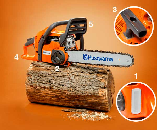 chainsaw on log with close ups of details