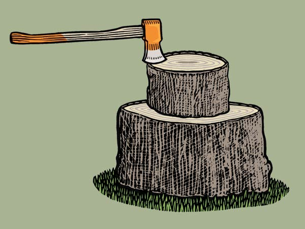 illustration for splitting a log